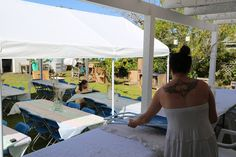 Tables and gazebo set up