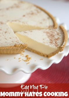 Egg Nog Pie  — Basically just egg nog and gelatin in a graham cracker shell. Sounds like a yummy combo!