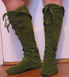 Fairy Princess ELF BOOTS pointy toe knee high moss by earthgarden, $135.00