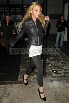 Lindsay Lohan Leather Jacket July 2017