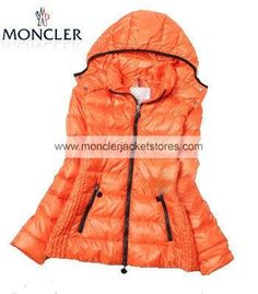 Fashion Moncler Hooded Down Jacket Women Orange