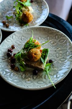One of the sensational starters at the South African event: Mini falafel and pita with greens, zatar-spiced hummus, toasted sesame seeds and fresh tahina. Falafel Pita, Toasted Sesame Seeds, Sustainable Food, What You Eat, Lentils, Starters, Hummus, 50th, Spices