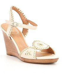 a27f59730454 Jack Rogers Clare Metallic Leather Whipstitchig Detail Wedge Sandals   Dillards Jack Rogers
