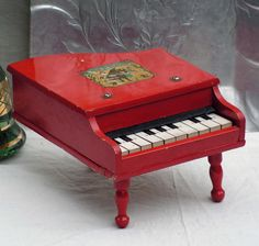 Red Baby Grand Piano Vintage Wooden Toy Home Decor Japan 1950s SurrenderDorothy, $54.89