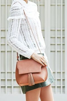 Classic, neutral crossbody bag with tassel flap | Sole Society Finch