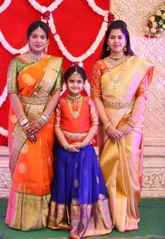 Image may contain: 3 people, people standing Kids Dress Wear, Dresses Kids Girl, Kids Wear, Baby Dresses, Kids Blouse Designs, Bridal Blouse Designs, Dress Designs, Kids Lehenga Choli, Kids Lehanga