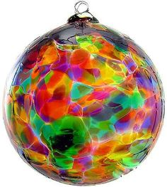 "Kitras Art Blown Glass 6"" Calico Ball Ornament - Festive Multi Colors"