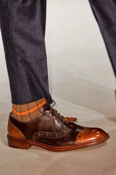 It's all in the deets // Stay warm (and cool) with a contrasting stripe sock via Vivienne Westwood Autumn / Winter 2014 Mens Shoes Boots, Men's Shoes, Shoe Boots, Dress Shoes, News Fashion, Fashion Shoes, Vivienne Westwood Man, Gentleman Shoes, Loafer Slippers