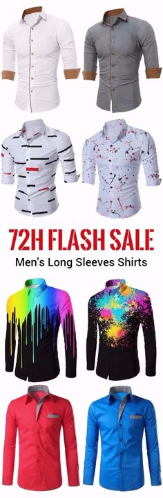 72h flash sale long sleeves shirts for men