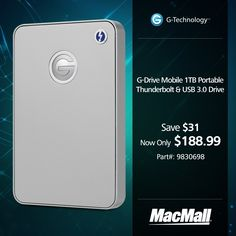 Save $31 on a 1TB mobile GTechnology G-Drive at MacMall.