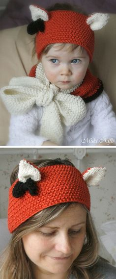Free Knitting Pattern for Quinn Fox Headband and Cowl - Set which includes headband with cute pointed ears and a cowl with big bow. Both items are knitted flat with aran weight yarn, you can use this pattern for making fox, cat or wolf set. Sizes Sizes: baby/toddler/child/adult. Designed by Muki Crafts #knittingpatternsbaby