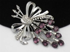 "STARET  1940's Large 4"" Amethyst Rhinestone Flower Brooch Pin"