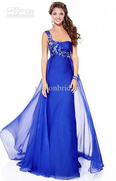 Wholesale Royal Blue One Shoulder Sheath Red Floor Length Chiffon Beads Cheap Affordable Bridesmaid Dresses, Free shipping, $89.6-106.4/Piece   DHgate