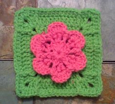 "One Crochet day at a Time ""BlueDragonFly Designs on a Hook"": GRACE-ADIA FLOWER 6"" SQUARE"