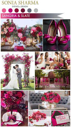 Sangria & Slate #sse #sseblog #soniasharmaevents #colorpalette #sangria #slate #fuchsia #gray #eventdecor #weddings #grey #colorful #pairings