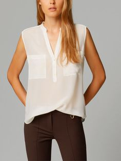 TOP WITH PLEATED SILK FRONT