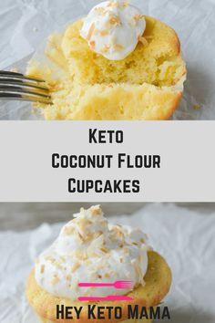 These keto coconut flour cupcakes are a moist and delicious low carb version of a childhood favorite. If you love coconut, you'll go crazy for these cupcakes! Perfect for your next grain-free, nut-free celebration!   heyketomama.com