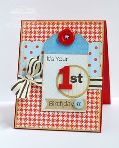 Pink First Birthday Card
