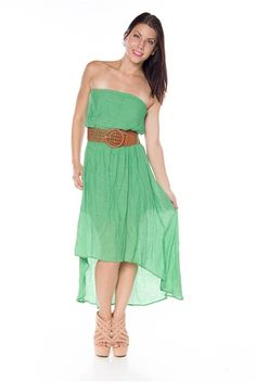 23.99 This flowing maxi dress has a high low design and a boho style bust that will suit any summer style! Pair with gladiator sandals and simple jewelry for a funky look.