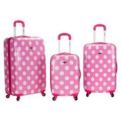 Rockland Laguna Beach 3pc ABS Spinner Luggage Set - Pink Dot   Target   target   625b930a0c