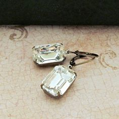 Vintage Rhinestone Earrings Glass Jewels Emerald Cut Clear Crystals Estate Jewelry 18$, via Etsy.