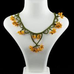 """""""Saffron Crocus"""" silk lace jewelry necklace"""