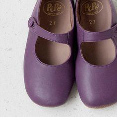 Purple leather mary janes | Pépé