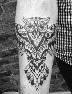 Forearm Owl Tattoos for Men