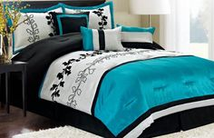 Contemporary Bedroom with Black Teal Striped Bedding, Striped Pattern Comforter Sets, and Simple Black Nightstand With Vases - . Teal And Grey Bedding Sets Gallery on FFGCEvents.com. Contemporary Bedroom with Black Teal Striped Bedding, Striped Pattern Comforter Sets, and Simple Black Nightstand With Vases, 10  designs in Teal And Grey Bedding Sets gallery