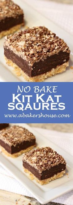 No bake Kit Kat Squares! There is a wafer cookie crust on the bottom, layered next with a chocolate and condensed milk, and topped with a kit kat crumbs. No baking required-- just the microwave and the refrigerator make these beauties! Valentine Desserts, Köstliche Desserts, Delicious Desserts, Dessert Recipes, Spanish Desserts, Sweet Desserts, Easy Dessert Bars, Brownie Desserts, Birthday Desserts