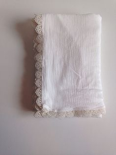 ~ 1 NomiLu Vintage Lace Gauze Swaddle Blanket ~ (Pictured: white gauze/ivory trim) Materials: 100% Cotton Mulsin Gauze Size (approx): 40x50 inches
