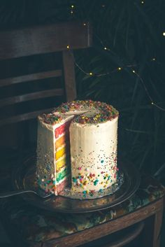 Rainbow Cake with Cream Cheese Frosting