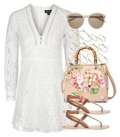 """Style #9999"" by vany-alvarado ❤ liked on Polyvore featuring Topshop, ASOS, Gucci, Ancient Greek Sandals and Yves Saint Laurent"