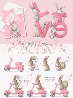 Lots of hand drawn cupid bunnies, hearts, vespas, clouds, florals and more perfect for Valentines projects. Event Invitation Design, Surface Pattern Design, Pattern Designs, Flower Clipart, Hanging Hearts, Backdrops For Parties, Textile Prints, Cute Love, Pretty Little