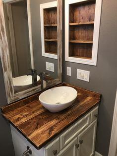 Diy Rustic Wood Countertop And Vessel Sink Bathroom Makeover