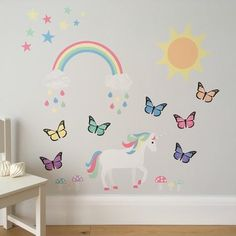 magical woodland wall stickers, magical woodland wall decals, pastel woodland wall stickers, pastel woodland wall decals, pastel woodland nursery, magical woodland nursery, wall stickers for nursery, wall stickers for girls bedroom, unicorn, butterfly, sunshine, rainbow