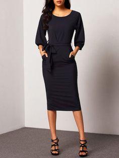 Puff Sleeve Belt Chiffon Slim Dress Mode Für Frauen, Business Kleider,  Chiffon Kleid, ca33746f27