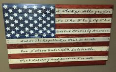 Wooden American flag with the Pledge of Allegiance, pallet wood, reclaimed wood