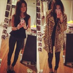black peplum top, leather pants, faux cheetah fur jacket #PERFECT cold weather night out outfit