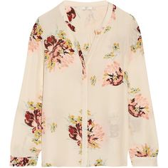 Joie - Devitri Floral-print Silk Crepe De Chine Blouse ($125) ❤ liked on Polyvore featuring tops, blouses, cream, pink silk blouse, vintage tops, cream blouse, pink floral blouse and silk blouse