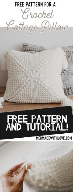 Free Pattern for the Crochet Cottage Pillow — Megmade with Love : Free crochet pattern for the Crochet Cottage Pillow. This looks so pretty in all white and I love the tassels! Crochet Cushion Cover, Crochet Pillow Pattern, Bag Crochet, Crochet Cushions, Free Crochet, Crochet Patterns, Crochet Yarn, Crochet Ideas, Free Knitting
