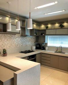Kitchen Room Design, Kitchen Cabinet Design, Modern Kitchen Design, Kitchen Layout, Home Decor Kitchen, Interior Design Kitchen, American Kitchen Design, Modern Kitchens, Functional Kitchen