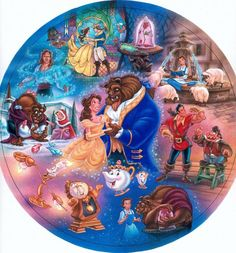 """Beauty & the Beast"" © Disney / Bradford Exchange - by Phil Wilson - watercolor using airbrush - collector's plate"