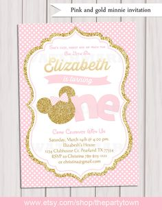 Pink and Gold Minnie Mouse First Birthday Party Invitation, 1st Birthday, Gold Glitter, Polka Dot invite, Girl, Printable Invitation by ThePartyTown on Etsy https://www.etsy.com/listing/262851519/pink-and-gold-minnie-mouse-first