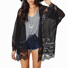 Popular Lace Black Cardigan-Buy Cheap Lace Black Cardigan lots ...