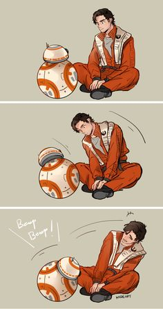 Stare competition between BB-8 and Poe Dameron from Star Wars The Force Awakens