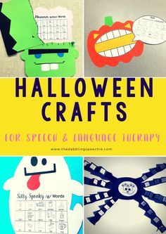 Halloween crafts for speech therapy are festive! I can usually find books and themed Halloween vocabulary to go with these Halloween crafts.
