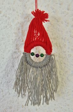 Using larks head to make a santa on a key ring. Christmas Fabric Crafts, Santa Crafts, Crochet Christmas Ornaments, Holiday Crafts For Kids, Santa Ornaments, Noel Christmas, Homemade Christmas, Christmas Projects, Winter Christmas