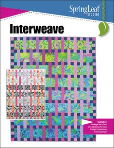 Interweave Quilt Pattern, Especially designed for Kaffe Fassett and Amy Butler prints Baby, Throw, Twin and Queen sizes Interweave is specifically designed to feature large scale prints. Kaffe Fassett and Amy Butler fab Strip Quilts, Scrappy Quilts, Easy Quilts, Quilt Blocks, Jellyroll Quilts, Quilting Fabric, Batik Quilts, Modern Quilt Patterns, Paper Piecing Patterns