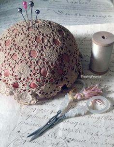 French Silk  Lace Pin Cushion